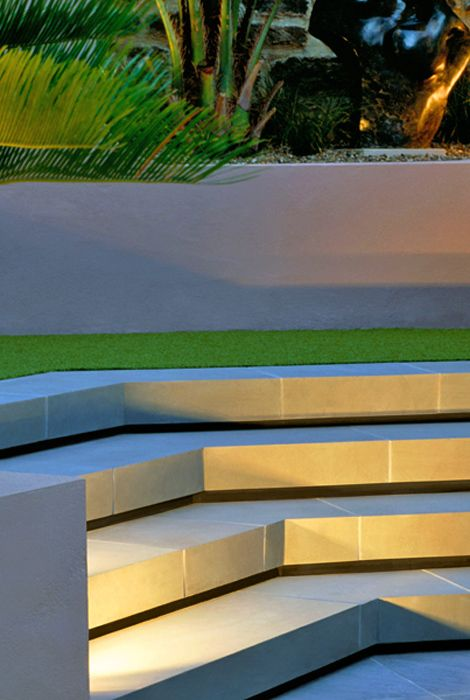 Shadow Gap Staircase Lighting: Illumination Of The Concrete Staircase. The Shadow Gaps