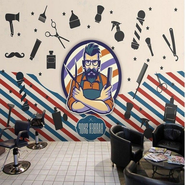 45 Cool Trendy Wallpaper Designs To Create Different Moods In The House Barber Shop Barber Shop Decor Barbershop Design