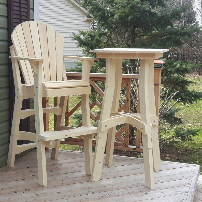 Adirondack Tall Tables Mailed Full Size Patterns Etsy Tall Table Tall Chairs Wooden Patio Chairs