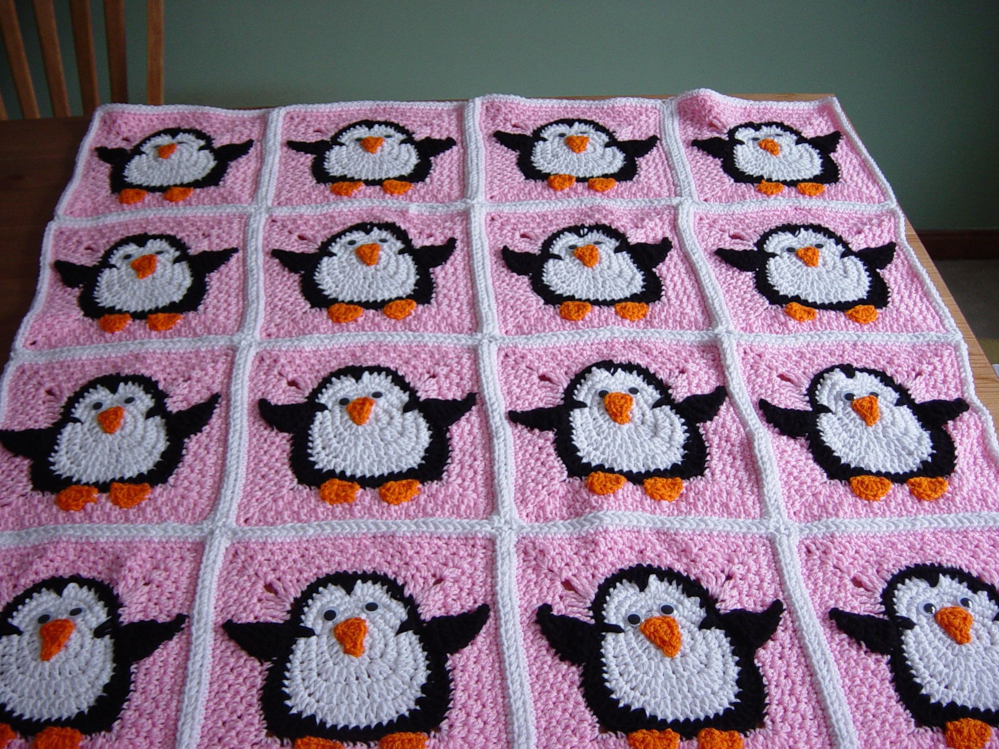 I finished my rush order for the girl\'s Penguin blanket/afghan. This ...