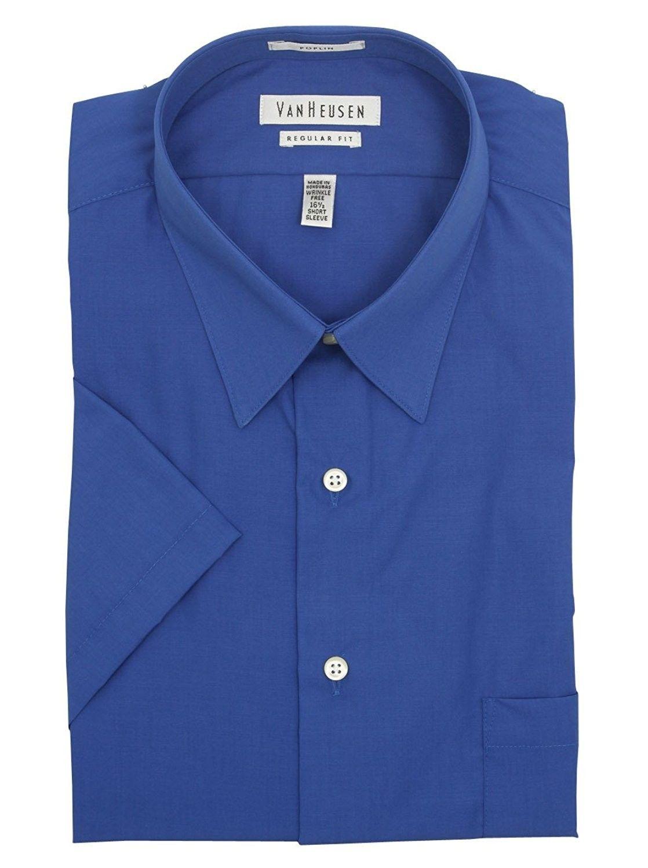 Short Sleeve Poplin Solid Dress Shirt Pacific Blue Pacific Blue