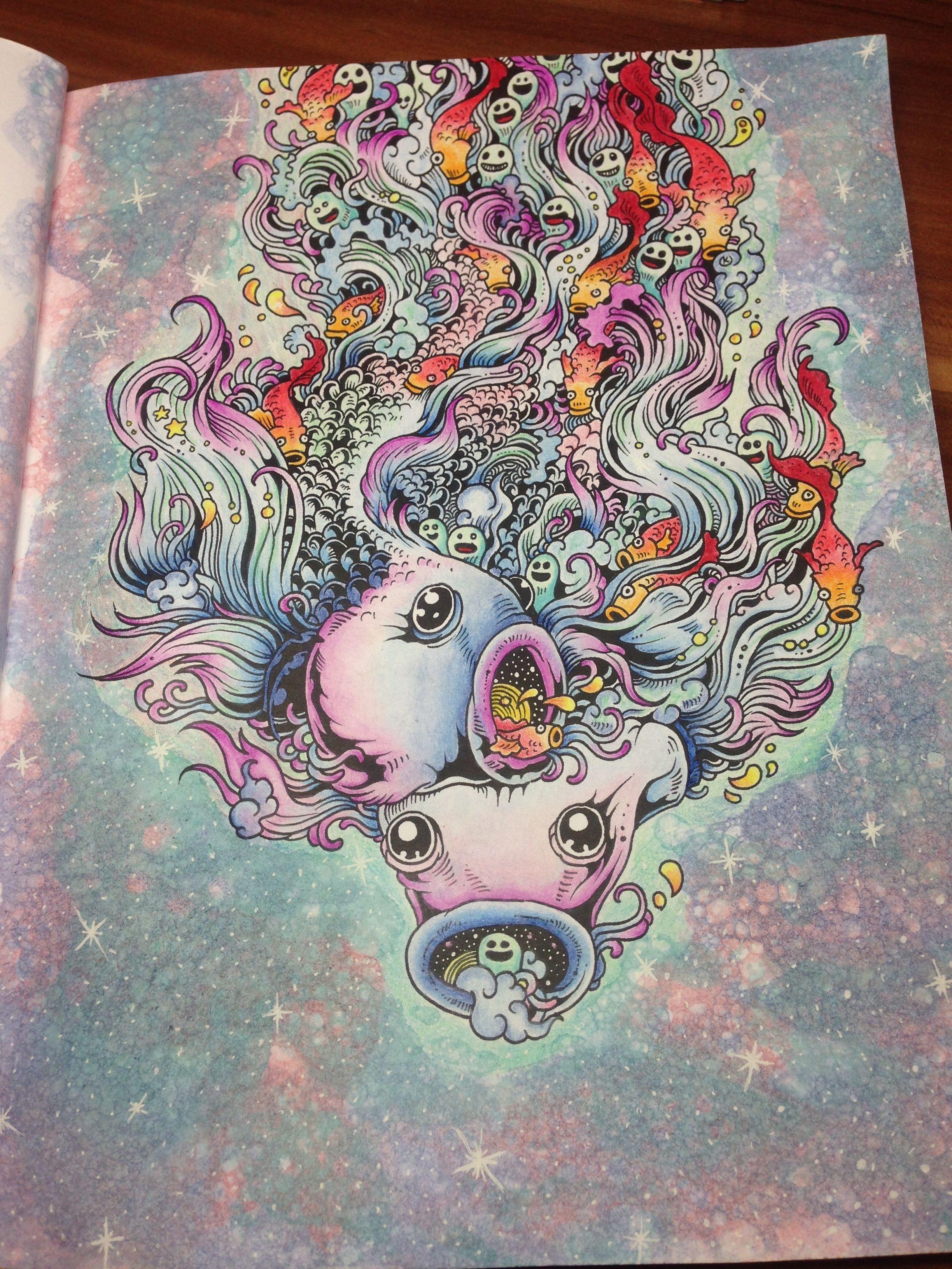 Doodle Coloring Adult Books Illustrations Color Pencil Techniques Art Diy Zentangle Hobbies