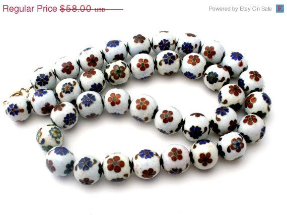 30% Off Cloisonne Bead Necklace Chain by TheJewelryLadysStore