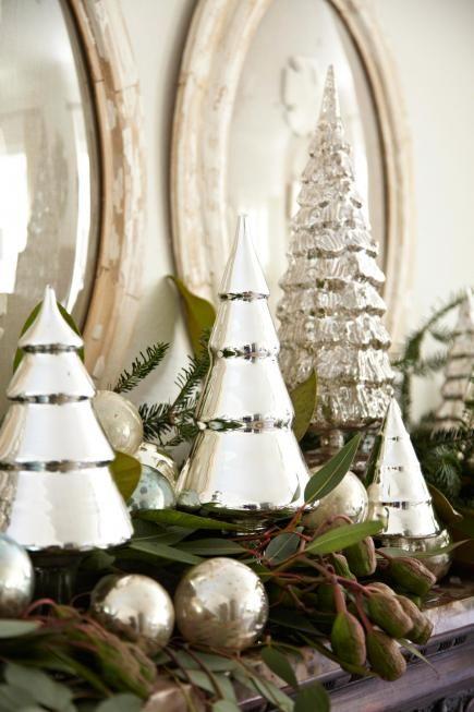 50 Gorgeous Holiday Mantel Decorating Ideas Mantels, Mercury glass