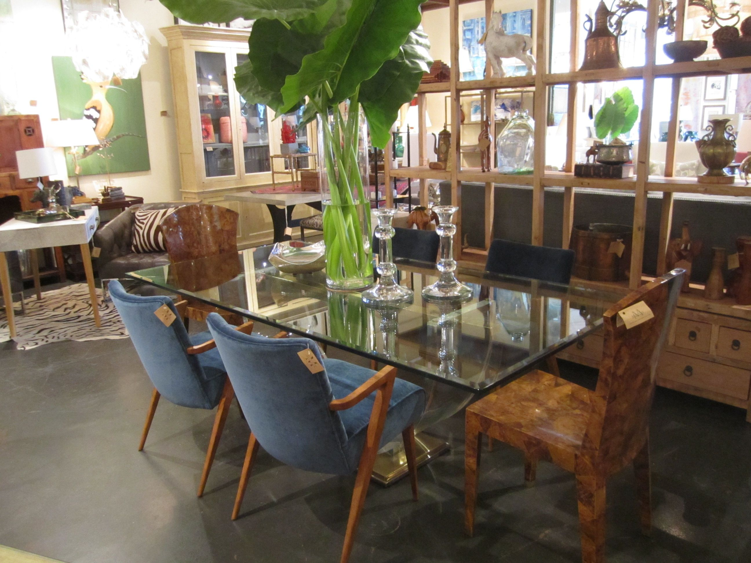glass #dining #table and elephant ear #display at #Mecox #Houston ...