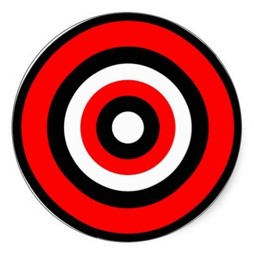 Bullseye Red Black White Classic Round Sticker Zazzle Com Black And White Stickers Black And Red Black And White