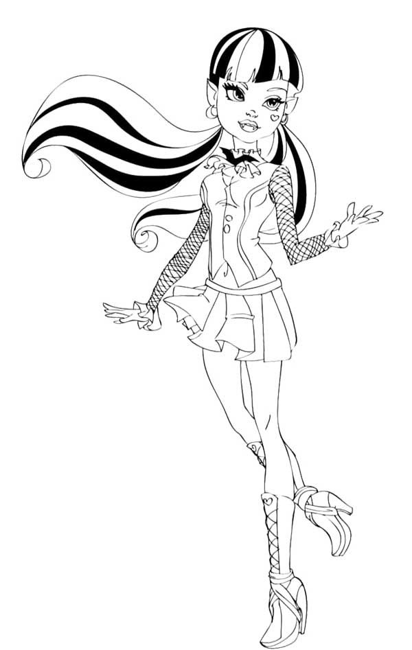 Monster high coloring pages of draculaura ~ Fashion Draculaura Coloring Page | Baby coloring pages ...