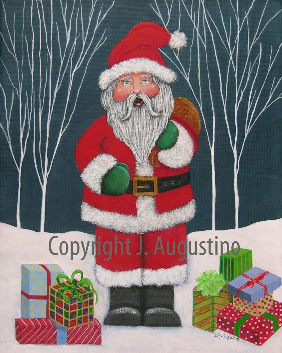Santa Has Presents. Signed, limited edition giclée art print. on Etsy, $10.00