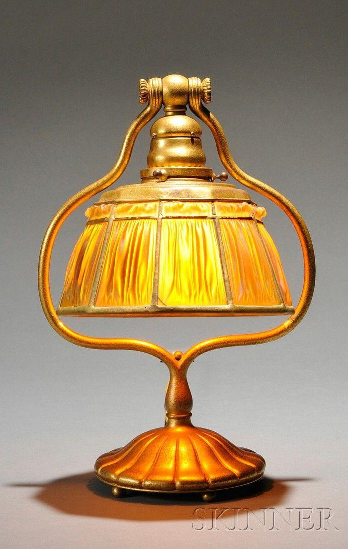 Tiffany Studios Linenfold Table Lamp / Bronze Dore / Ten Sided Linenfold  Shade In A