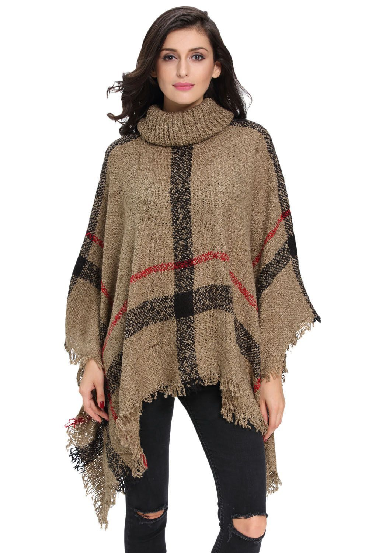 Khaki Turtleneck Cape Sweater | Polyester spandex, Khakis and ...
