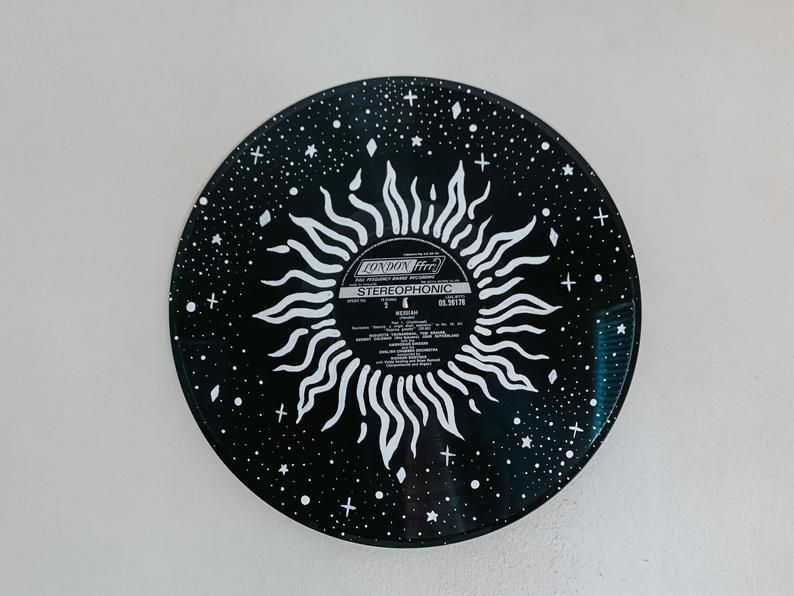 Sun And Stars Hand Painted 12 Inch Vinyl Record Wall Hanging Etsy In 2020 Vinyl Art Paint Vinyl Painted Record Wall Art