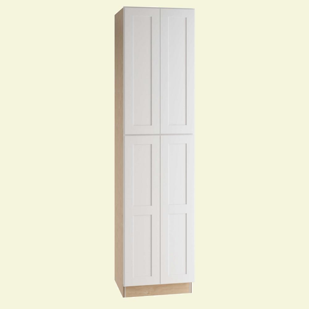 Home Decorators Collection Newport Assembled 24x84x24 In Plywood Shaker Utility Kitchen Cabinet Soft Close 4 Rollouts In Painted Pacific White U242484 4t Npw Home Decorators Collection Utility Cabinets Online Kitchen Design