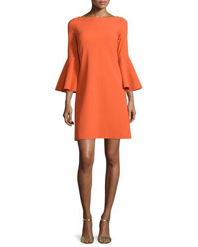TB4Q8 La Petite Robe di Chiara Boni Natalia Bell-Sleeve A-line Cocktail Dress