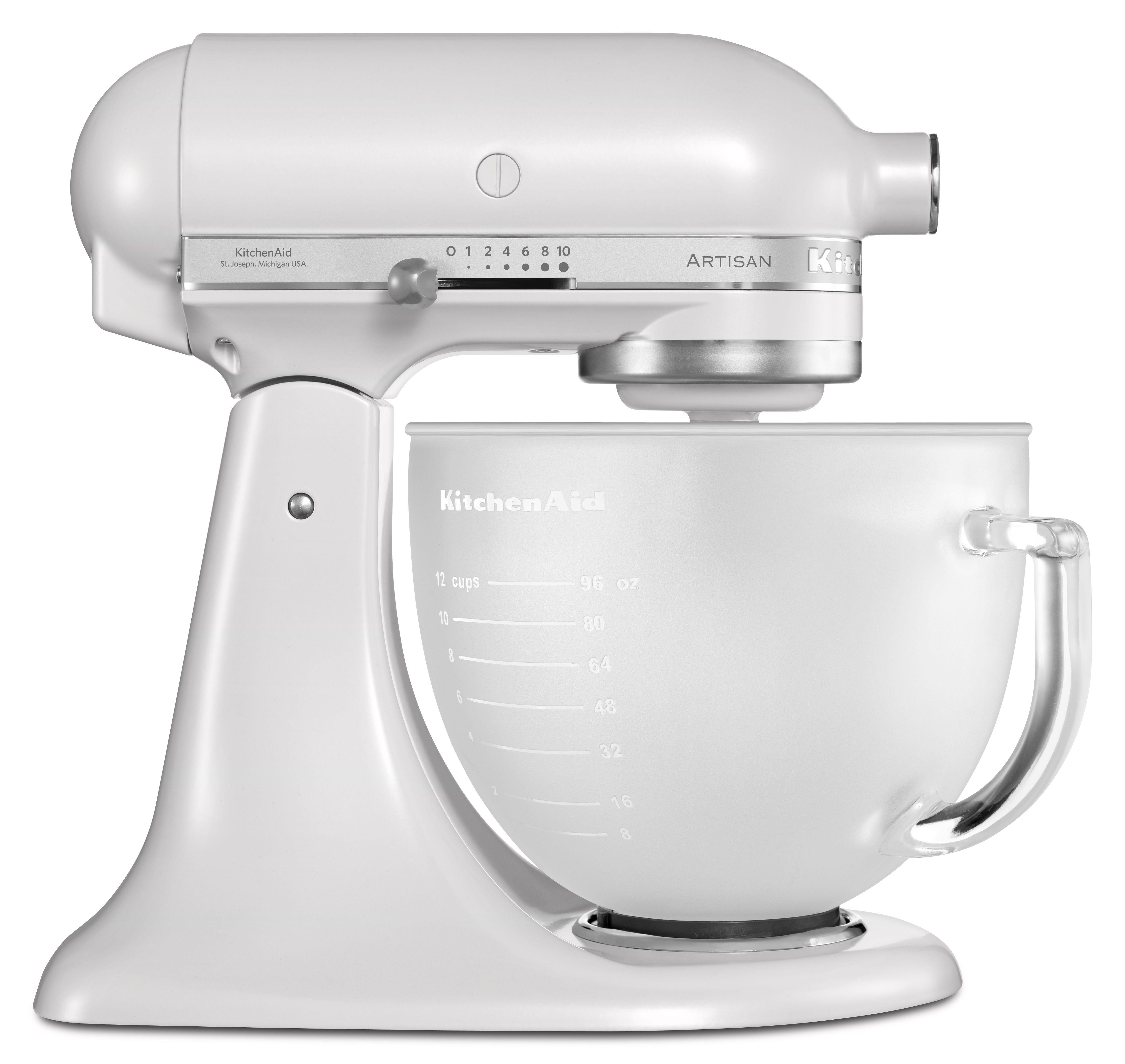 white kitchenaid mixer with glass bowl