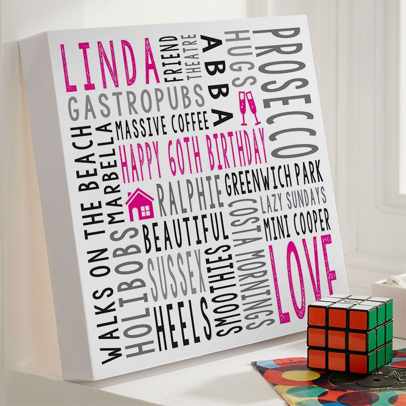 60th birthday gift for her personalised square word art