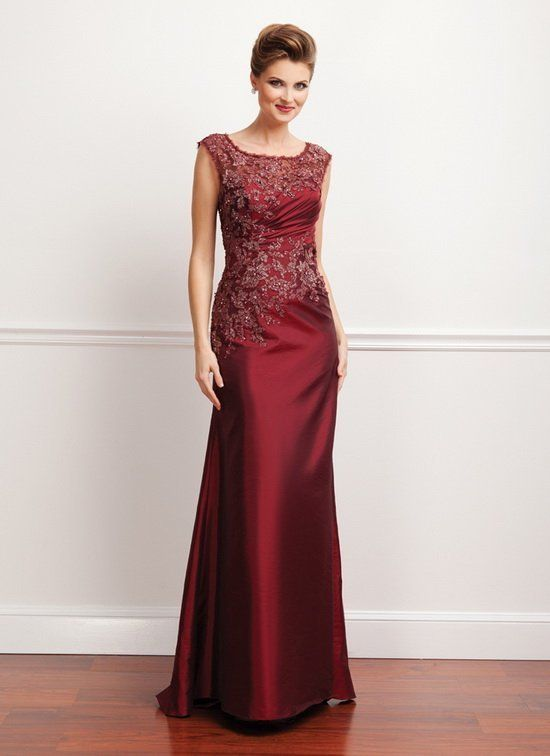 4109cb53bdc Mother of the Bride Dress Wine Red Burgundy Taffeta Lace Evening Dress