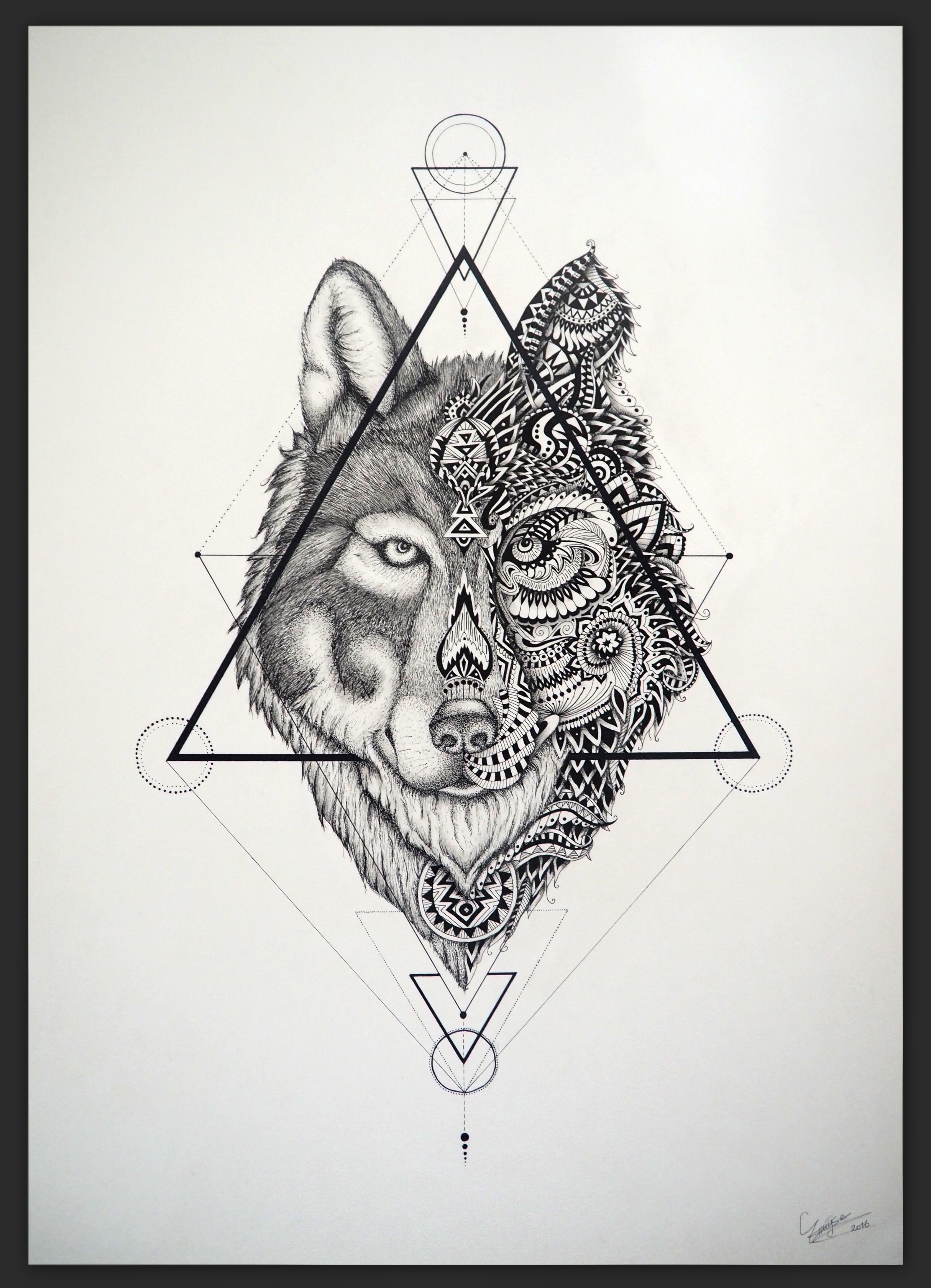 Wolf Drawing Made With Fineliners Wolf Tattoo Triangle Graphic Creavtive Fallout 3