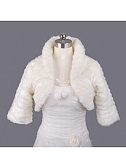 Ivory Faux Fur Bridal Jacket with Three Quarter Sleeves - USD $21.99
