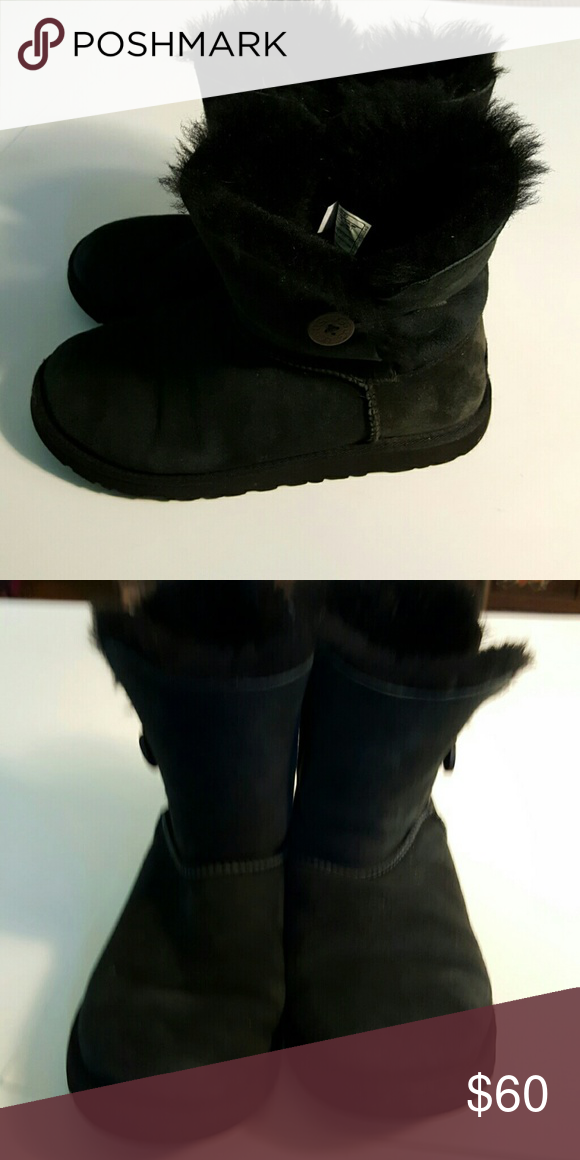"Black Authentic Ugg Boots Black shirt Authentic UGG Boots, approx 6"" high.  Little to no wear. UGG Shoes Winter & Rain Boots"
