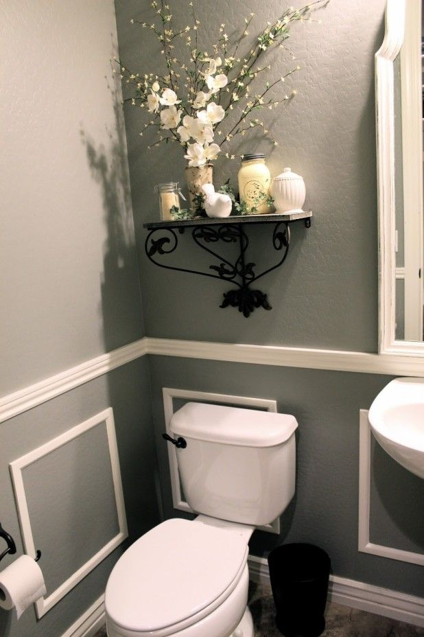 Decorating Small Half Bathrooms With Wrought Iron Wall Shelf Be
