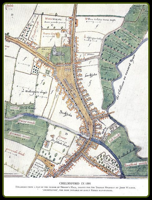 Chelmsford Map of 1591 Antique maps Cartography and Britain