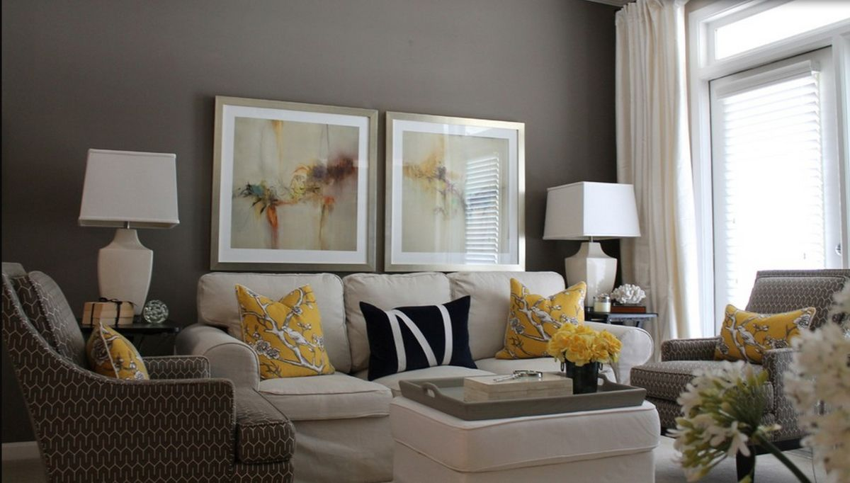 Contemporary decor living room gray and yellow living for Living room designs grey