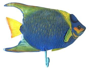 Tropical Fish Decor Blue Angelfish Wall Hook Painted Metal Themed Switch Plate Covers