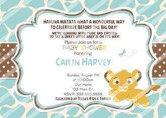Baby Simba Baby Shower Invitations Blue