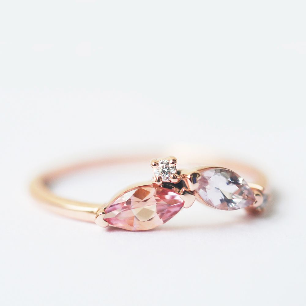 Padparadscha ring leaf ring marquise band marquise ring marquise