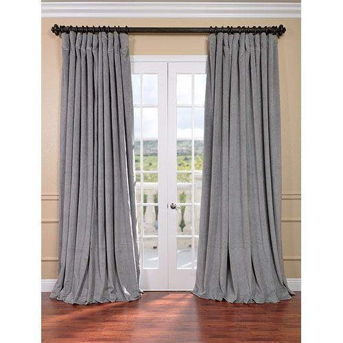 Signature Silver Grey Double Wide Velvet Blackout Pole Pocket Single Panel Curtain 100 X 96