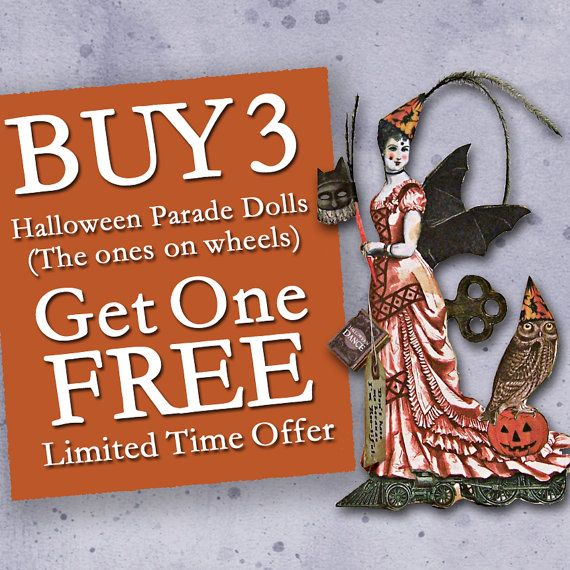 SALE Digital Halloween Decorations - 3D DIY Paper Doll Downloads For