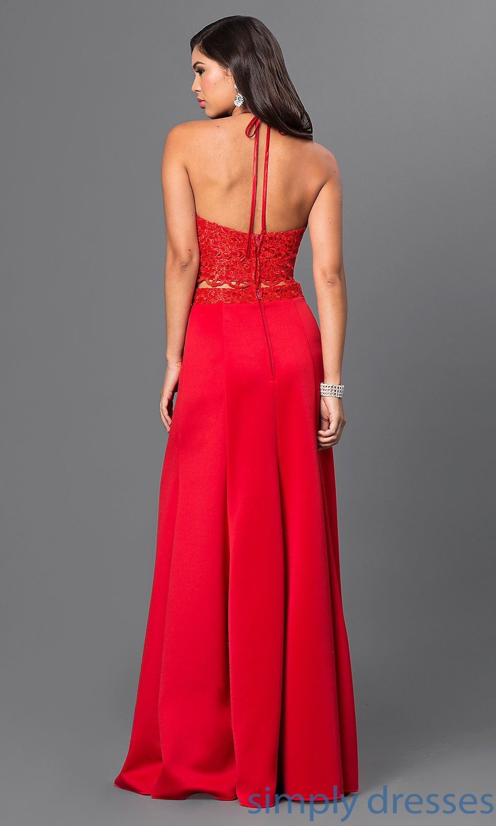 Masquerade Scarlet-Red Long Two-Piece Prom Dress | Pinterest ...