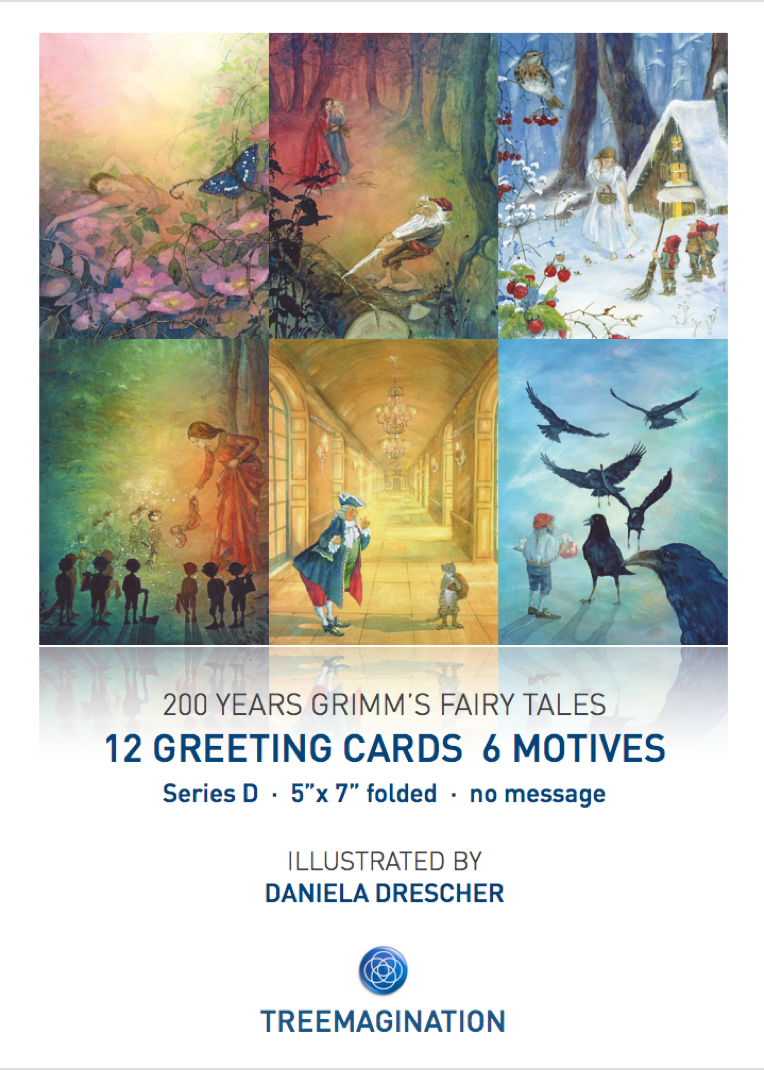 Greeting cards. Illustration by Daniela Drescher on the 200th Anniversary of the Brothers Grimm. You can purchase this art as wall cards, posters, greeting cards and ebooks. http://www.treemagination.com