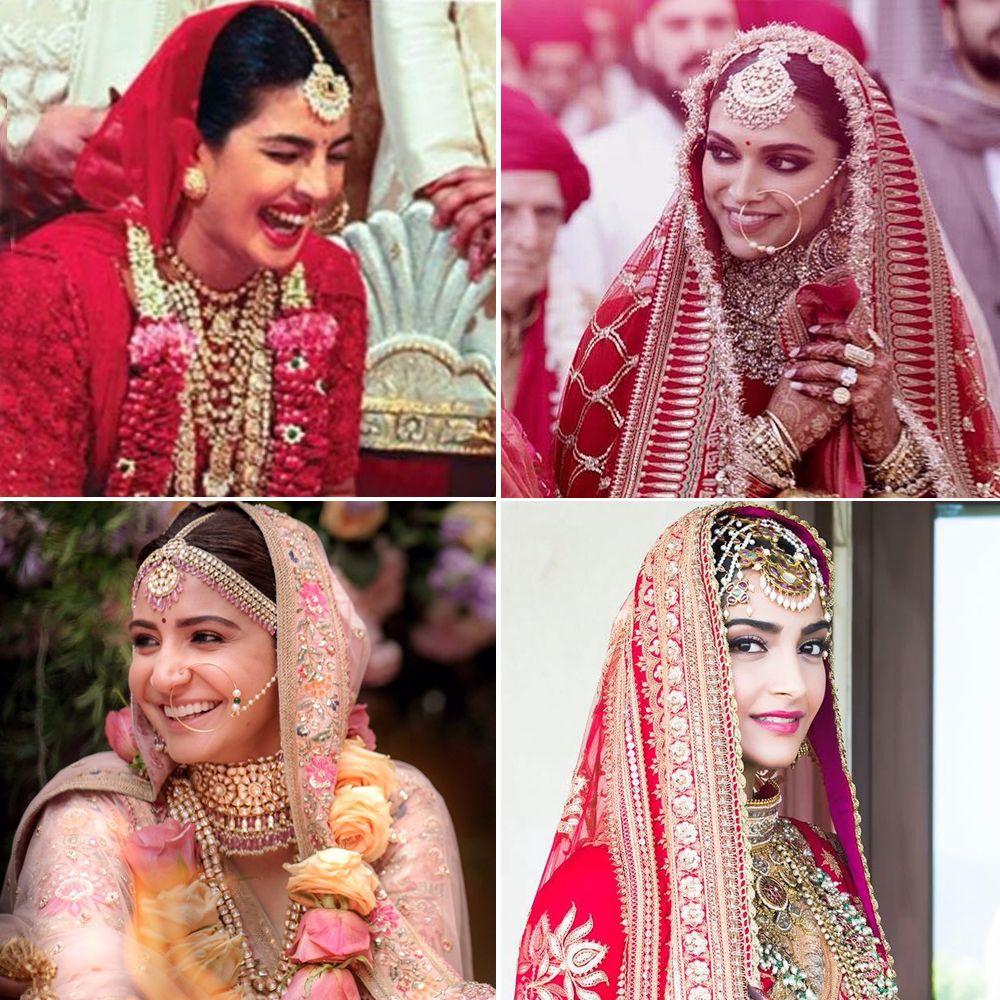 Priyanka Chopra Deepika Padukone Anushka Sharma And Sonam Kapoor Bridal Look Bollywood Wedding Bollywood Wedding Dress Priyanka Chopra Wedding