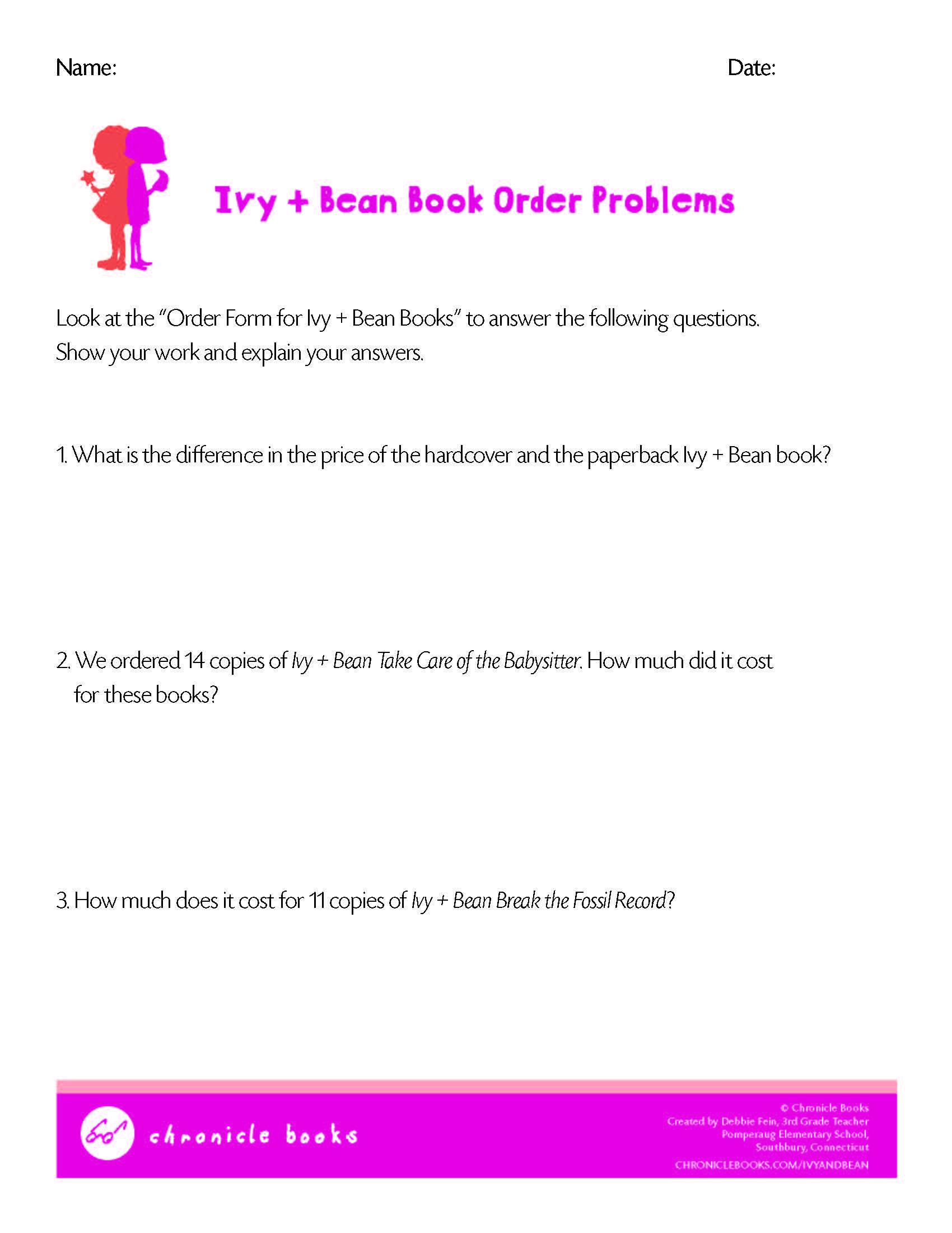 Ivy And Bean Book Order Problems Math Worksheet