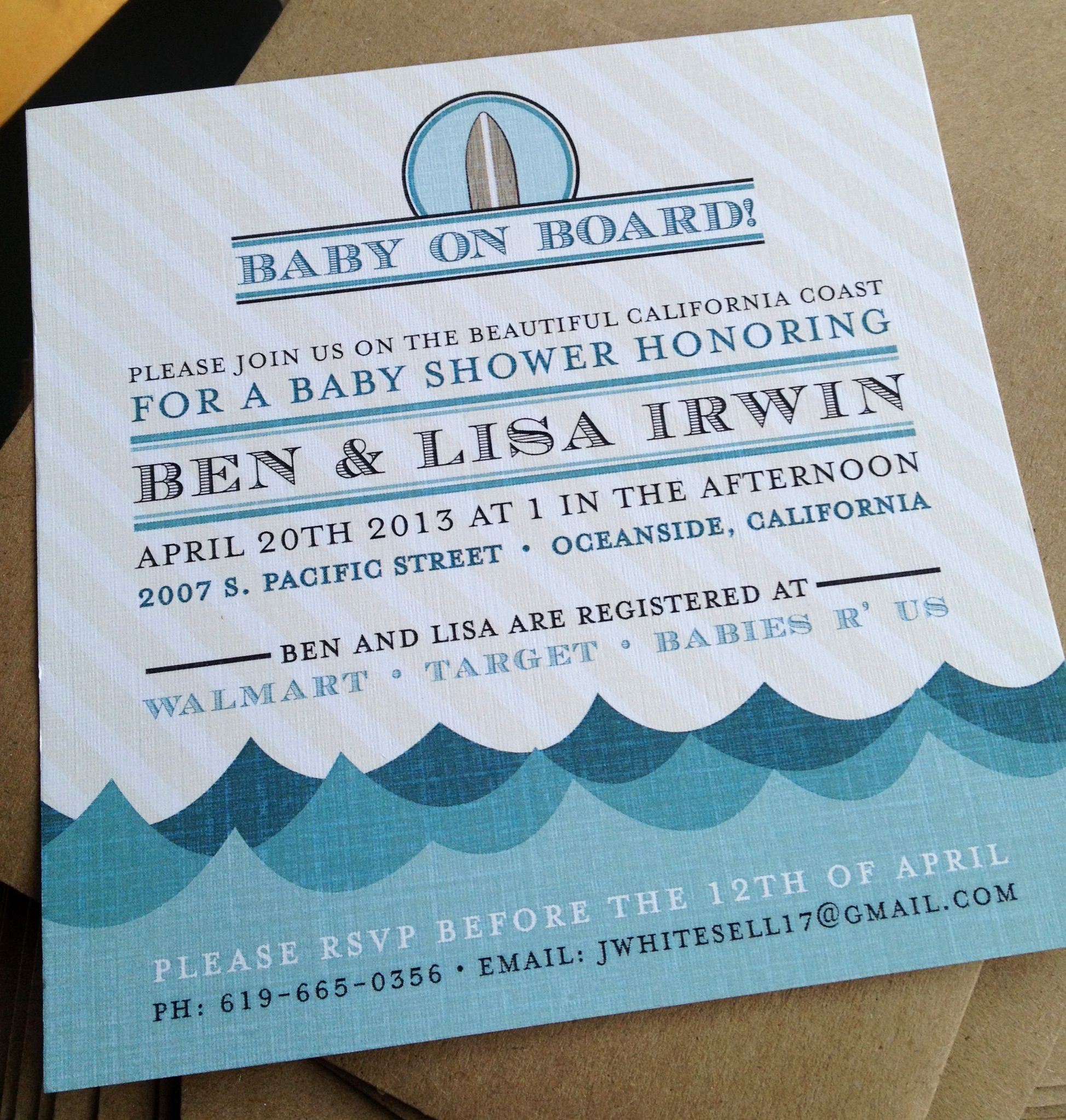 Paper Anchor Designs By Desiree Perez Irwin Baby Shower Invitation