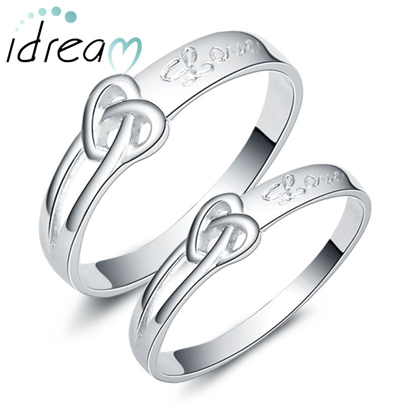 heart knot love engraved promise rings for couples cute infinity wedding ring band in - Wedding Rings For Couples