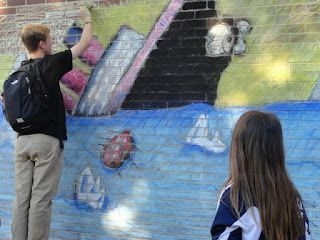 Working on interactive chalk art murals