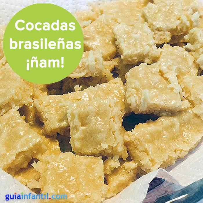 La receta más sencilla, ¡y un dulce inolvidable! http://www.guiainfantil.com/recetas/postres-y-dulces/frutas/cocada-brasilena-con-leche-condensada-dulce-para-ninos/