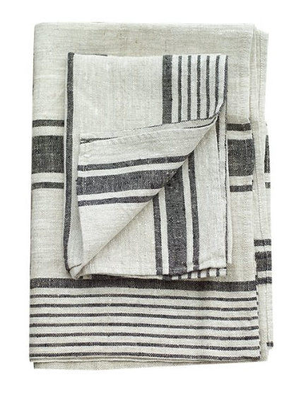 Elegant And Luxurious, This Natural Black Striped Linen Hand And Guest  Towels Provence Is Made Of High Quality Natural Material.