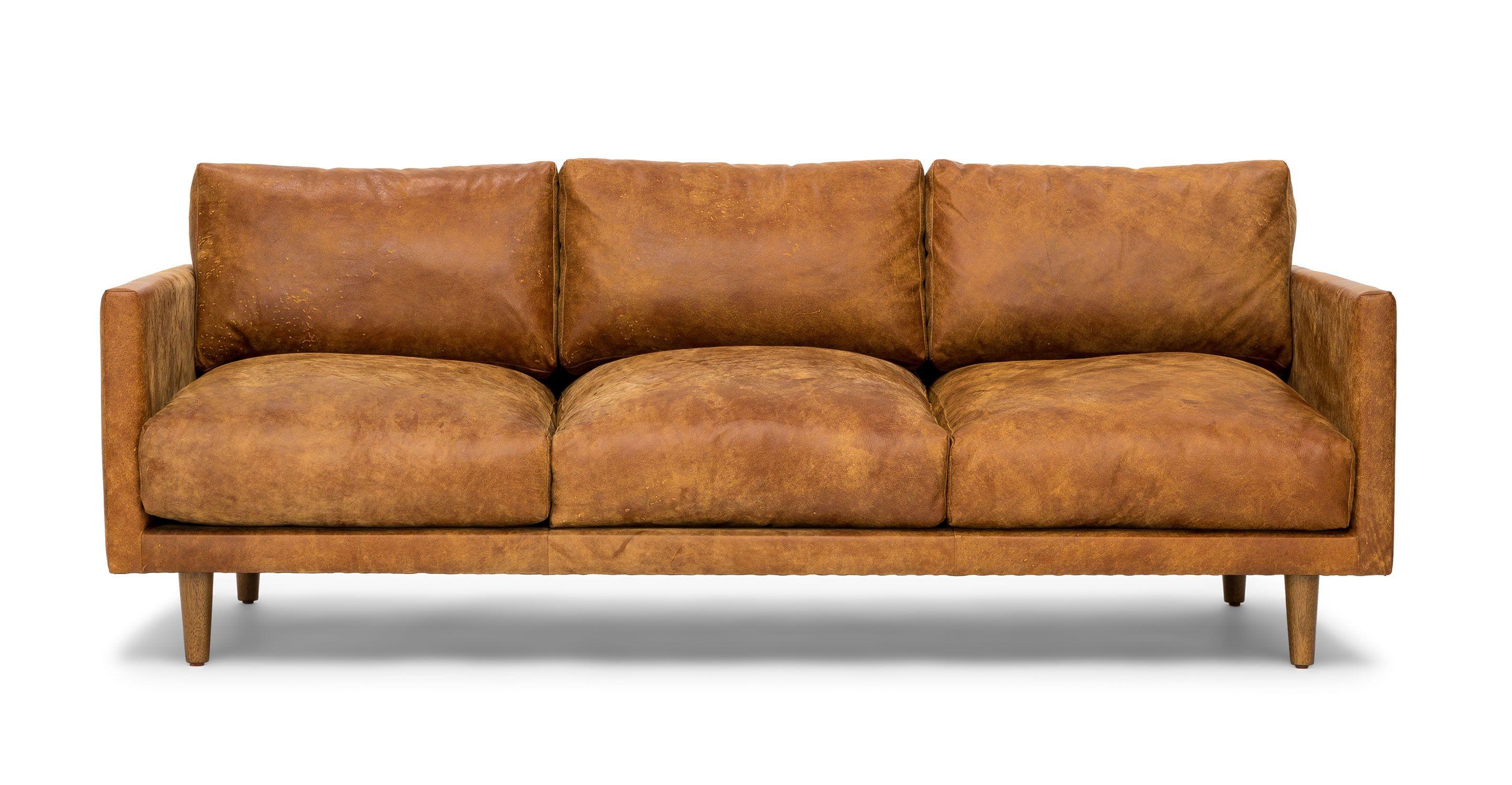 Tan Brown Leather Sofa - Upholstered | Article Nirvana Modern ...