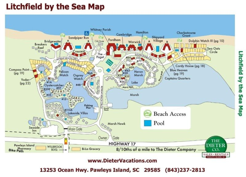 Litchfield By The Sea Map Pawleys Island Als Beach Area South