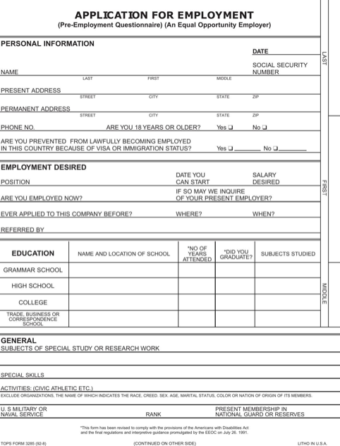 employment application form templates forms pinterest job