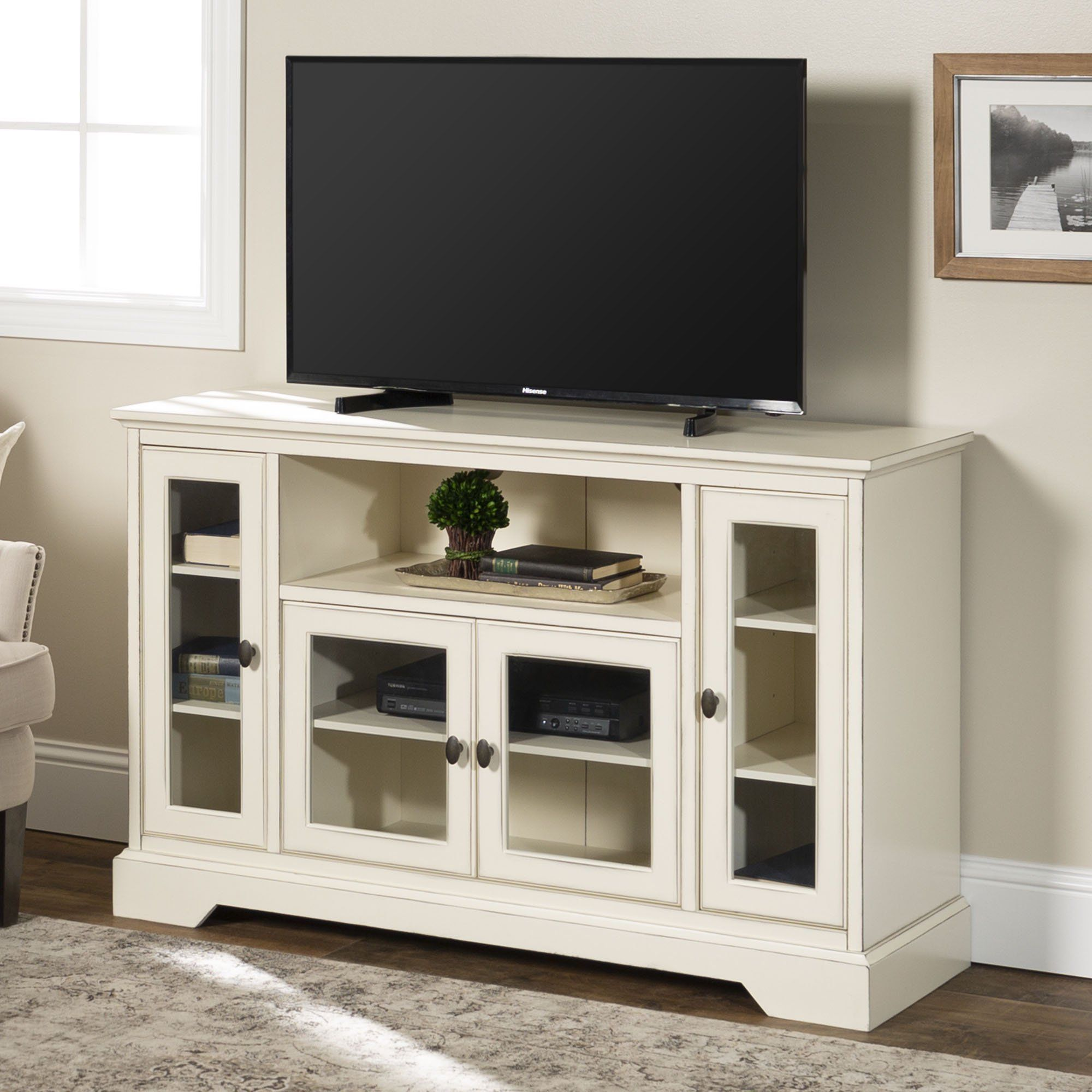 Highboy Style Wood Media Storage Antique White Tv Stand By Manor Park Walmart Com Tv Stand Console Highboy Tv Stand Furniture Deals