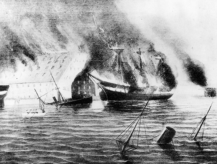 In April of 1861, shortly after Virginia seceded from the Union, Gosport Naval Yard, Norfolk, Virginia was destroyed by the Union Navy.  They decided to do so before Confederate soldiers could capture it.  However, a ship was captured and refurbished.  It later became one of two ships that defined the future of sea warfare. What was the name of the ship? What was the name of the famous battle?