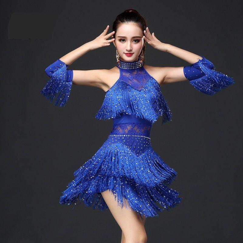 ... Fringe salsa Salón tango Cha cha rumba samba Latino Vestidos para  bailar f2b5a52a1b8a
