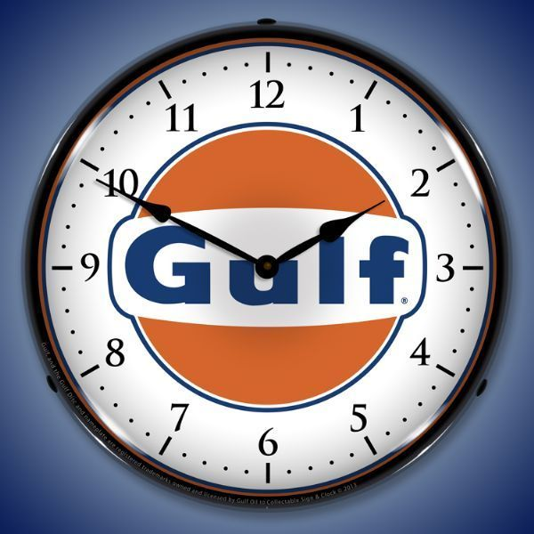 Gulf Led Lighted Wall Clock 14 X 14 Inches Wall Clock Light Vintage Clock Man Cave Lighting
