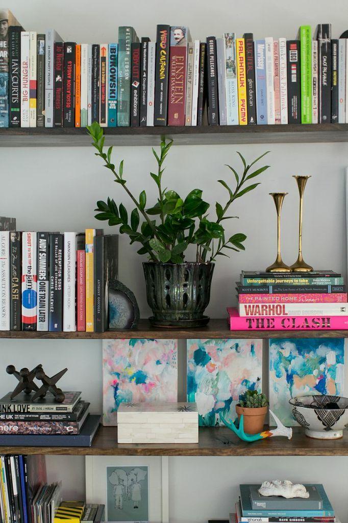 styled bookshelves.