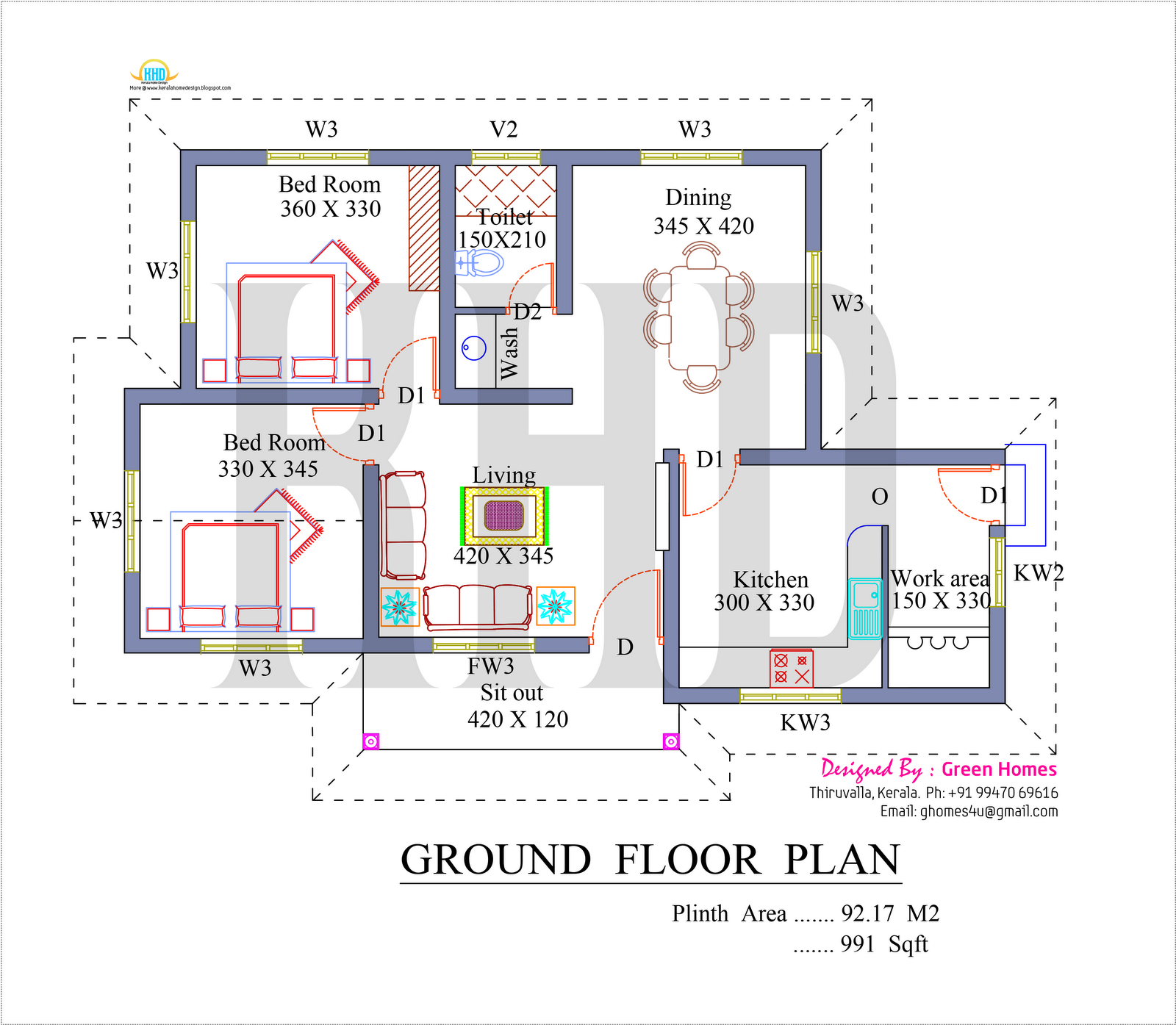 Kerala Home Design And Floor Plans: Elevation Square Feet Kerala Home Design Floor Plans