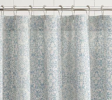 Sammie Tile Shower Curtain Fabric Shower Curtains Gray Shower